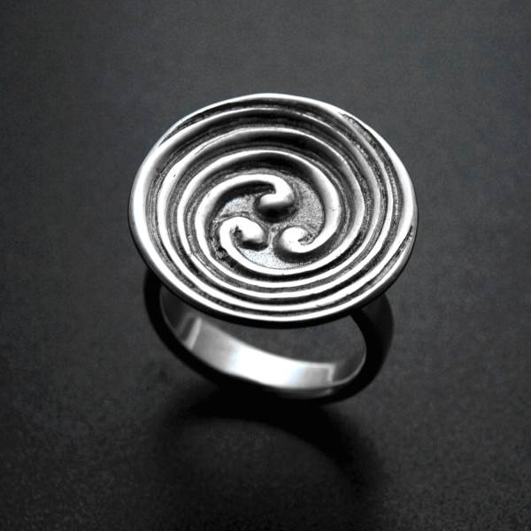 3 branch celtic spiral labyrinth silver ring - ALLDEADS
