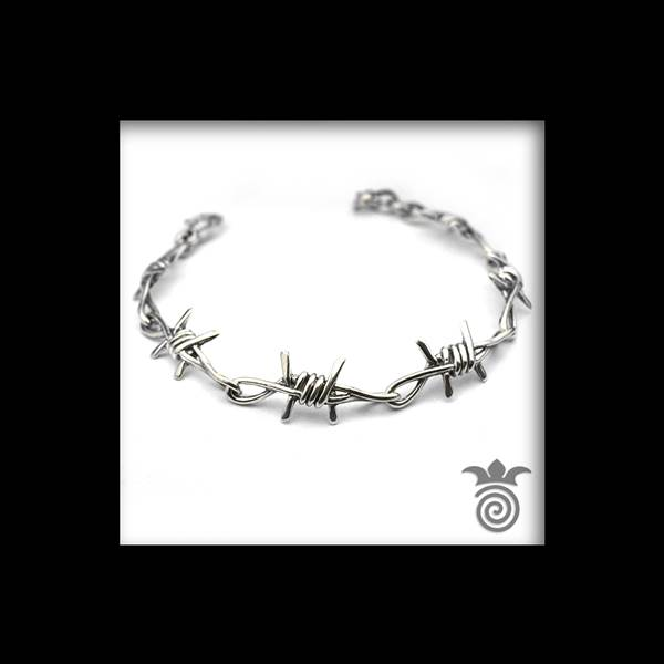 Barbed wire bracelet 1 row silver