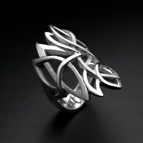 Contemporary silver tracery pointed ring ALLDEADS