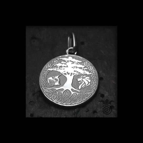 Medal baptism tree of life tracery Yggdrasil silver