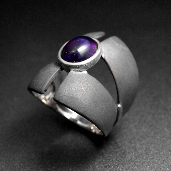 Medieval mixed cross openwork silver amethyst ring