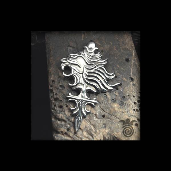 Pendant wolves and cross celtic style silver