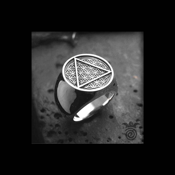 Signet symbol flower of love and silver triangle