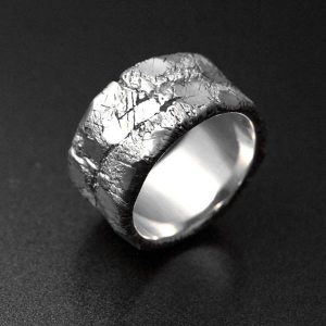 Large contemporary raw silver ring for men