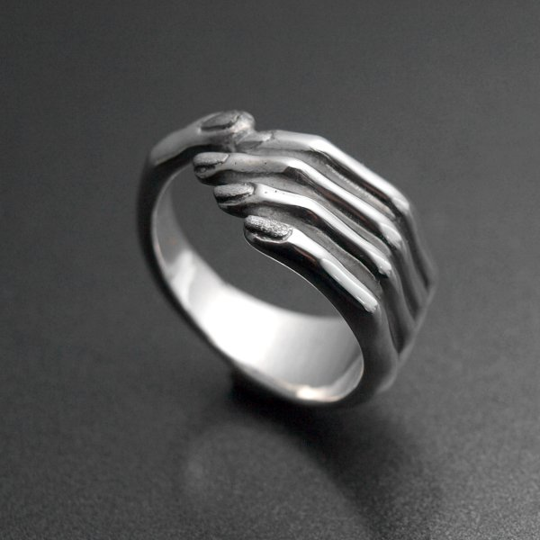 Silver 925 ring hand with fingers