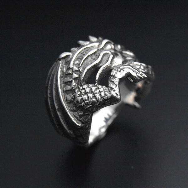 Wrapped dragon silver ring